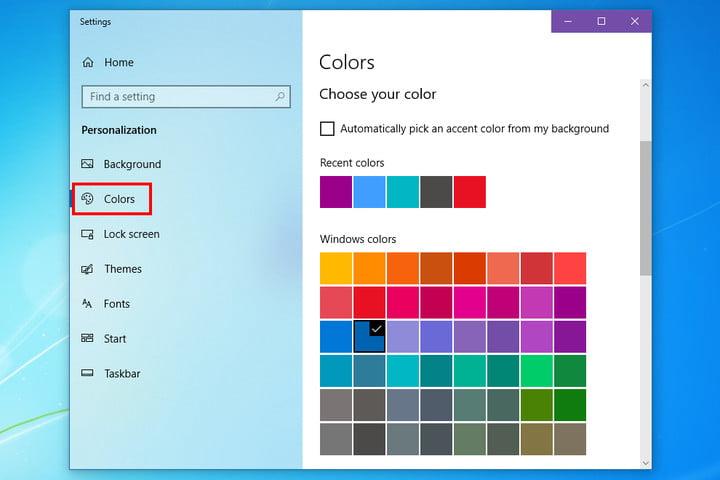Thay đổi màu sắc cho Windows 10