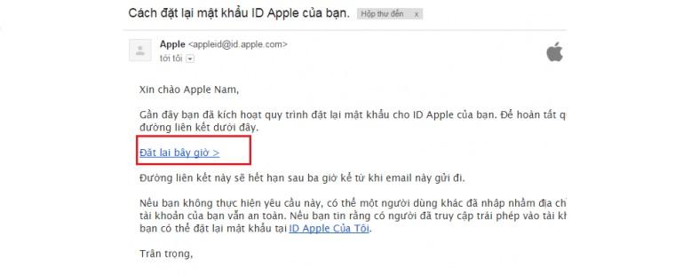 thiết lập lại bằng email