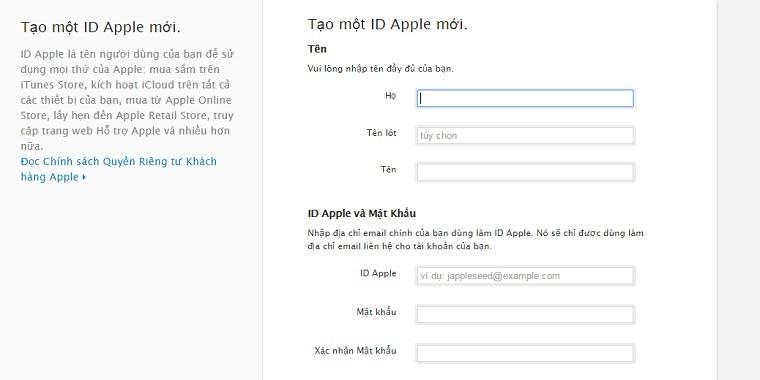Cách tạo tài khoản iCloud