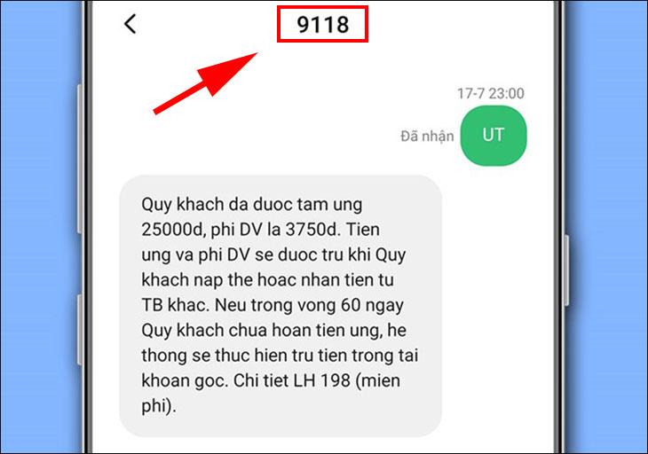 Thanh toán trước bằng SMS 9118