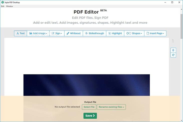 Trình chỉnh sửa PDF Sejda