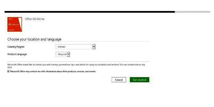 Cửa sổ lựa chọn khu vực và ngôn ngữ