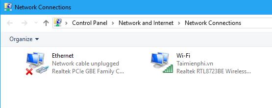 Chọn Ethernet hoặc Wi-Fi, sau đó nhấp vào Thay đổi tùy chọn bộ điều hợp