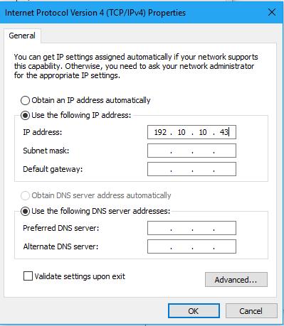 Nhập thông tin IP và chọn OK