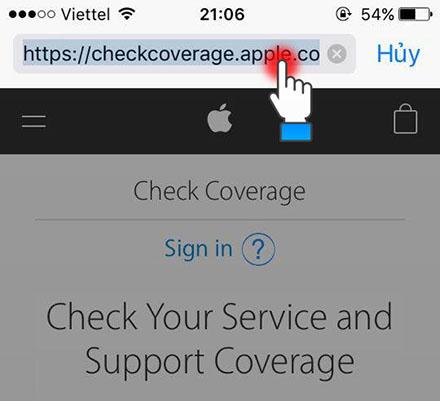 Truy cập trang web của Apple