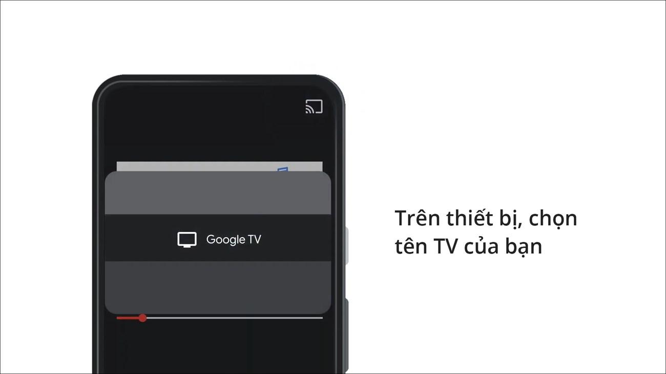 Trên thiết bị, chọn tên TV của bạn