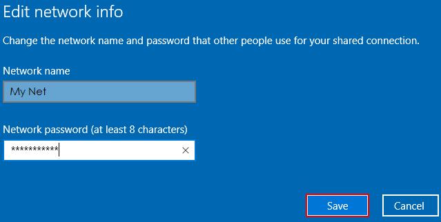 Nhập tên mạng và mật khẩu