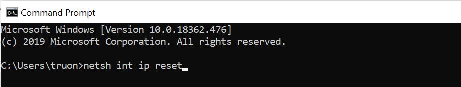 Nhập lệnh sau: netsh int ip reset