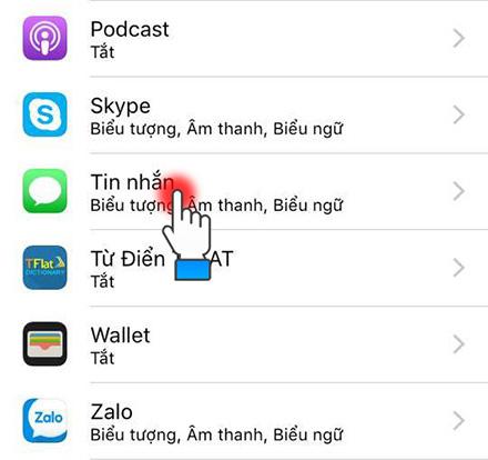 Chọn trong ứng dụng nhắn tin