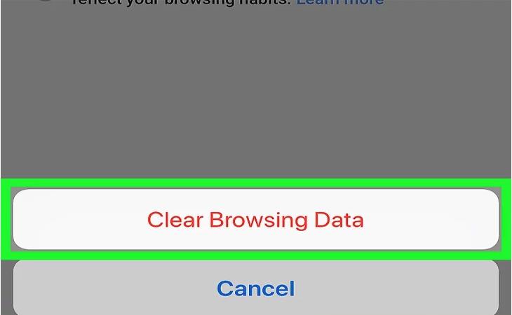 Nhấp vào nút Xóa dữ liệu
