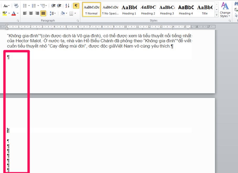 Đánh dấu tất cả các trang trắng xuất hiện trong đoạn văn và nhấn Delete để xóa các trang trắng trong Word.