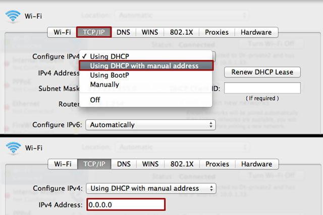 Nhập địa chỉ IP, mặt nạ mạng con và bộ định tuyến thích hợp