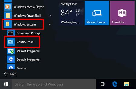 Chọn Hệ thống Windows và tiếp tục nhấp vào Bảng điều khiển