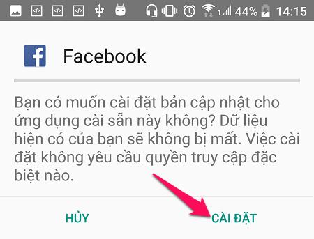 Cài đặt phiên bản Facebook cũ