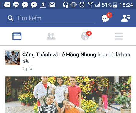 Giao diện Facebook có nút trò chuyện