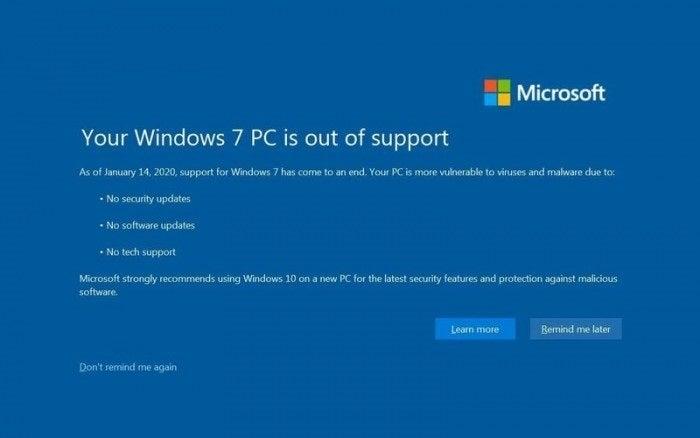 Hộp thoại Windows 7 để kết thúc thông báo