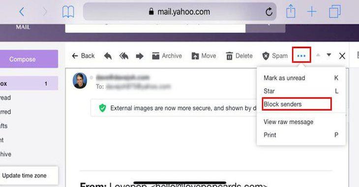 Chặn người gửi email khỏi webmail trong Safari
