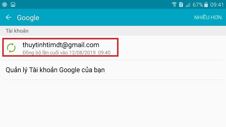 Nhấp vào Tài khoản Gmail