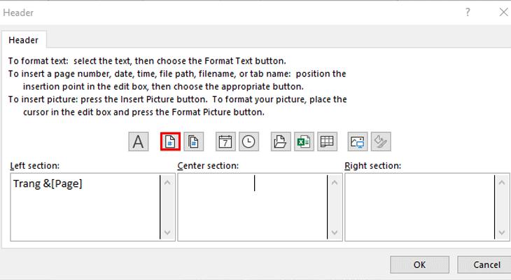 Chọn biểu tượng Chèn số trang và thực hiện đánh số trang
