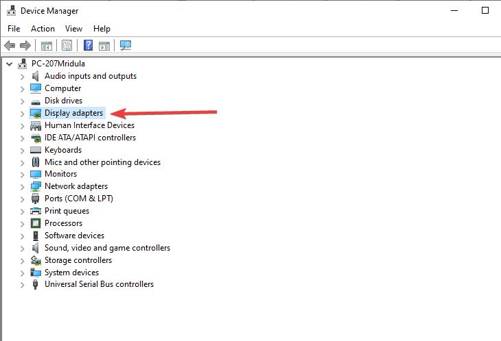 Từ danh sách xuất hiện, chọn Bộ điều hợp hiển thị để kiểm tra tên cạc đồ họa của bạn trong hệ thống.