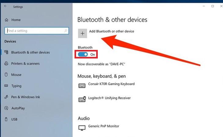 Sau đó nhấp vào Thiết bị.  Trong cửa sổ cài đặt, hãy đảm bảo rằng Bluetooth đã được bật