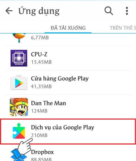 Chọn các dịch vụ của Google Play