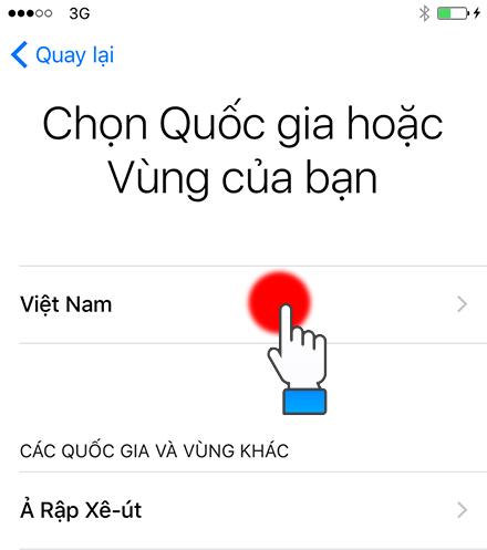 Chọn quốc gia hoặc khu vực (Việt Nam).