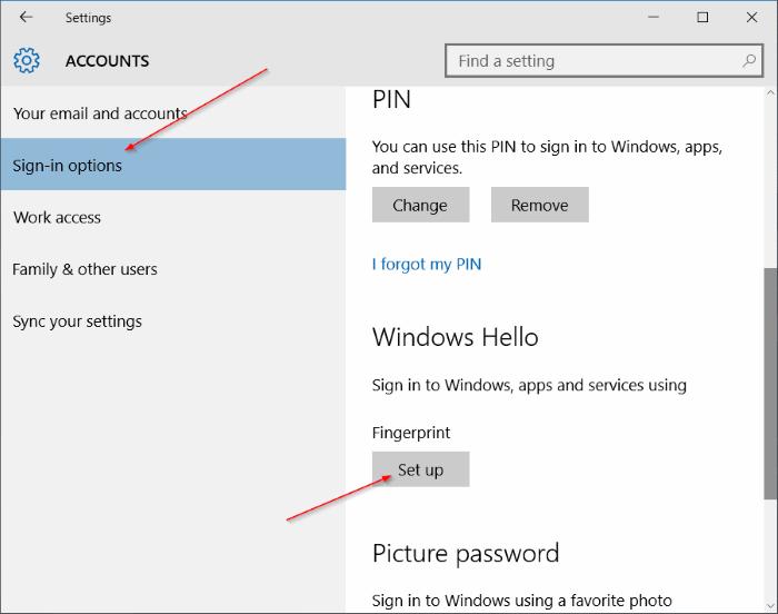 """Đi tới Tài khoản> Tùy chọn đăng nhập và thiết lập mã PIN đăng nhập cho thiết bị của bạn"""" style=""""width: 730px; height: 576px;"""" title=""""Đi tới Tài khoản> Tùy chọn đăng nhập và thiết lập mã PIN đăng nhập cho thiết bị của bạn"""" lớp học =""""lười biếng"""" src =""""https://cdn.tgdd.vn/Files/2019/11/13/1218354/huong-dan-su-dung-dang-nhap-van-tay-tren-laptop-windows-10-1.png""""></p> <p>Windows Hello sau đó sẽ hiển thị một thông báo văn bản màu đỏ cho biết rằng bạn cần mã PIN để sử dụng chức năng đăng nhập vân tay.</p> <p><u><strong>Bước 3:</strong></u>    Sau khi có mã PIN, hãy nhấn nút <strong>khung</strong> Mở (Thiết lập) trong Windows Hello <strong>Trình cài đặt Windows Hello Wizard</strong> (Trình hướng dẫn thiết lập Windows Hello).</p> <p><img alt="""