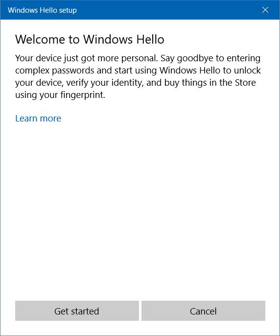 Trong trình hướng dẫn thiết lập Windows Hello, hãy chọn nút Bắt đầu