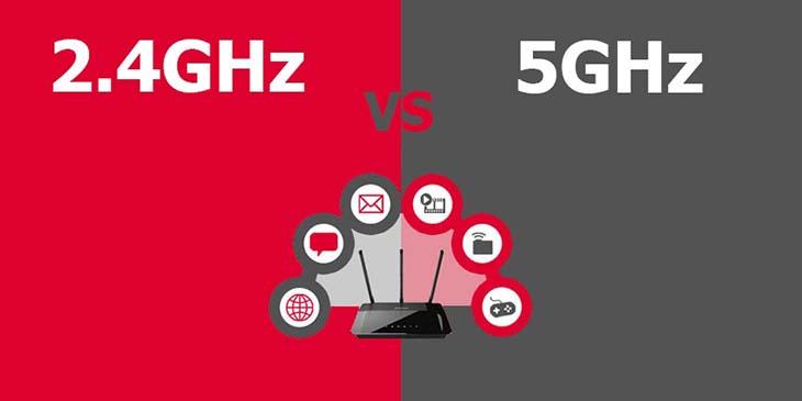 Hai băng tần là 2,4 GHz và 5 GHz