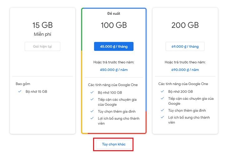 Gói bộ nhớ Google Drive